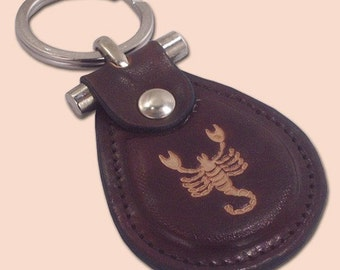 Scorpio zodiac sign leather metal T keychain - FREE Shipping Worldwide - Zodiac Leather Keychain, Birthday Gift, Keychain gift Ideas
