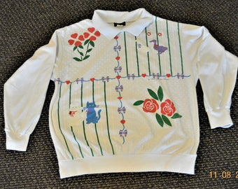 "Puff Paint Shirt, Chest up to 45"" bottom 34""  Cats & Ducks graphics signed Mayfair Ind Inc. 1990,Long Sleeved Polo"