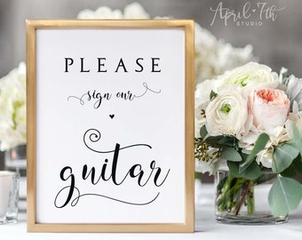 Please sign our Guitar, Musician Guestbook sign, Rock and Roll Wedding Theme, Music Themed Wedding Sign, printable wedding sign, CARAMIA