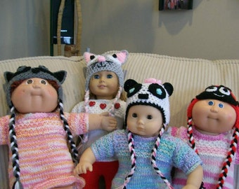 18) Crochet Animal Hats for the Dolls -- The Hats will fit a 15 and 18 Inch Dolls  Cat,  Raccoon, Ladybug, Frog, Sock Monkey, Mouse, Panda