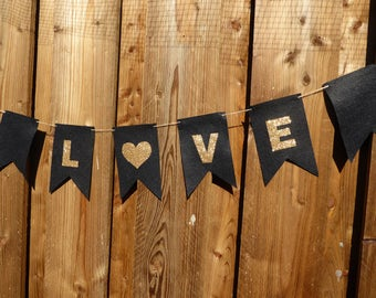 Black and gold glitter LOVE bunting / flags - made from wool blend felt, perfect for engagments, weddings and celebrations