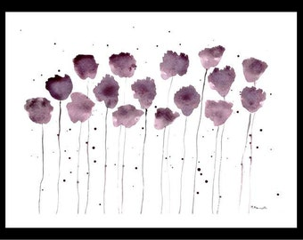 Purple flowers art Purple abstract Floral painting Wall art Flowers art Flowers abstract Modern painting, flowers art 12 X 9 inches