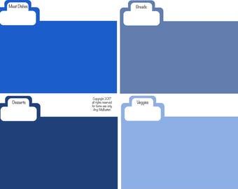 Recipe Box dividers, recipe organizing cards, recipe dividing cards, recipe organizers, recipe box organizers
