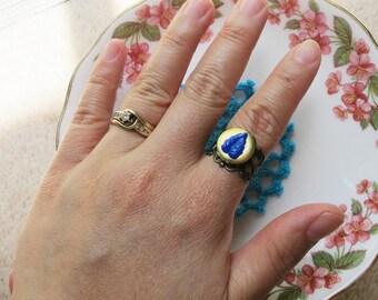 Vintage Locket Ring For Women - Adjustable Botanical Brass Secret Keeper Leaf Cobalt Blue - Jewellery Jewelry Miniature Sweet Handmade
