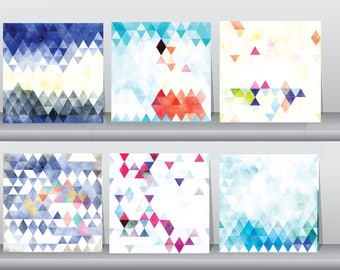 Abstract Geometric baby boy gift Triangle Wall art set of 6 canvas prints Watercolor wall art Nursery wall art Nature wall art Baptism gift