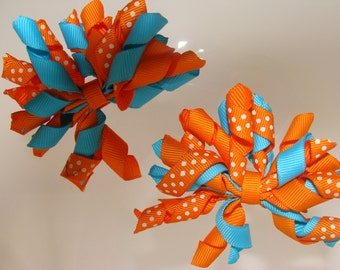 Nemo Inspired, Corker Hair Clips, Hair Bows, Pigtails, Twin Girls, Pig tails, Polka dots, Vacation Gift Idea, Kids barrettes, Korkers