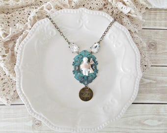 Shabby Cottage Chic Patina Frozen Charlotte Mixed Media Assemblage Statement Necklace