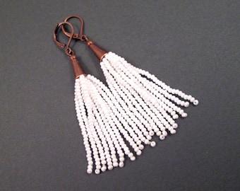 Tassel Earrings, White Glass Seed Beaded Fringe Earrings, Copper Dangle Earrings, FREE Shipping U.S.