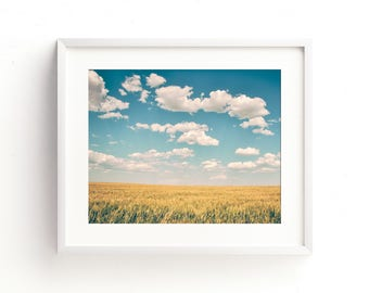 "large landscape wall art, landscape art prints, colorful landscape wall art, clouds, sky, field, large art, large wall art -""Spacious Skies"""