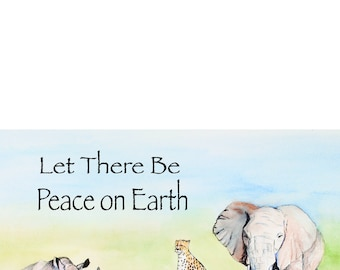 4 Card Set: Wildlife Peace 5X7 Watercolor/Pen&Ink Holiday Card Set