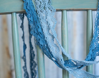 6 yds Organic Cotton Lace, Blue Hues Set