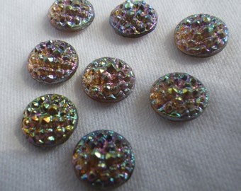 Smoky Topaz AB Vintage Sugar Stone Glass SS40 8mm Round Foiled Doublets 6