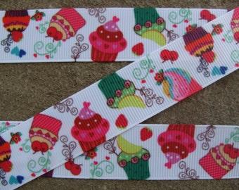 "3 yards Cupcake ribbon 7/8"" Birthday ribbon Grosgrain hair bow ribbon Party ribbon Fruits Cupcake printed ribbon"