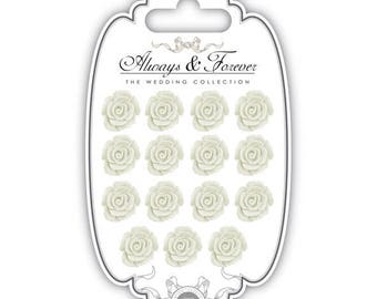 15 self-adhesive resin - white (15x16mm) - AFRFLR005 flowers