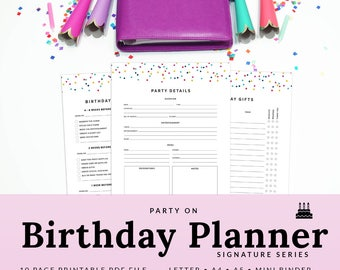 Birthday Party Planner PDF Birthday Planner Printable Planner Confetti Happy Planner Letter Mini Binder | PBTH-1001-A, Instant Download