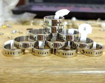 Team ring, Friendship ring,Personalized ring, Anniversary gift, Stamped ring,Couple ring, stainless steel ring, Customized yours