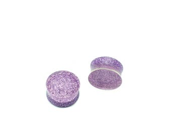 "Purple ""Prickly Pear"" Glitter Plugs - 10mm and 18mm Size Gauges - Handmade Resin Plugs Body Jewelry"