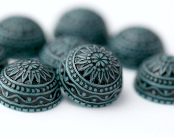 Vintage German Cabs Lucite Etched Turquoise Black Cabochons Carved Round Flatbacks 18mm (8)
