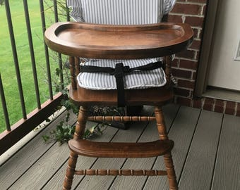 Highchair Cover/Pad/Cushion. High Chair cover/Pad/Cushion for vintage wooden highchairs. Ticking