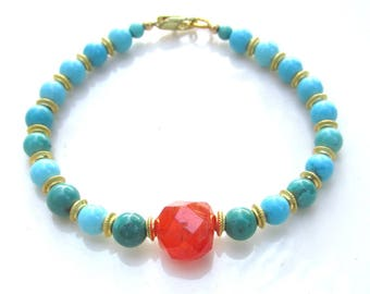 Natural Turquoise & Faceted Carnelian Bracelet - Artisan Handmade Jewelry NATURAL Gemstones