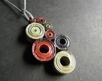 """Abstract Art Necklace in Red, Black, and White, Handmade Artisan Paper Pendant and Cording, """"Where There's Smoke, There's Fire #2"""""""