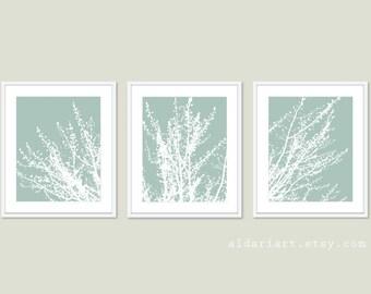Modern Spring Tree Branches Digital Print Set  Woodland Home Decor - Seafoam Sage Green - Contemporary Multi Panel Tree Triptych Wall Art