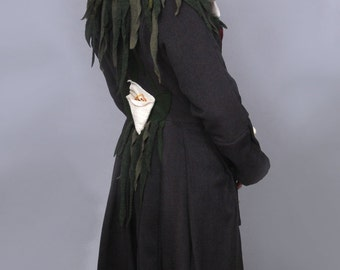 Wearable Art Wool Coat with three dimensional Calla Lillies from repurposed materials. Collar is appliqués felted wool flowers