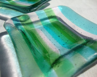 Blue/green/clear striped mini square glass fused dishes (set of 2)