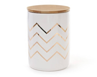 Porcelain Jar Zigzag with a bamboo lid, color - white and gold
