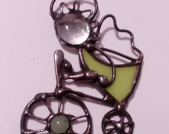 Stained Glass Angel. Angel on bike. Hanging Angel. Tiffany style. Guardian angel. Confirmation gift. Chritmas ornaments.