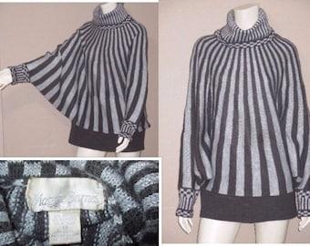 Vintage Maggie Barnes Avant Garde Stripe Metallic Silver Caraousel Batwing Dolman Cocoon Sweater Size 1X