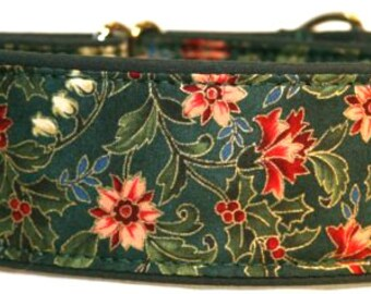 Christmas Floral w/ Holly Leaves Martingale Collar-