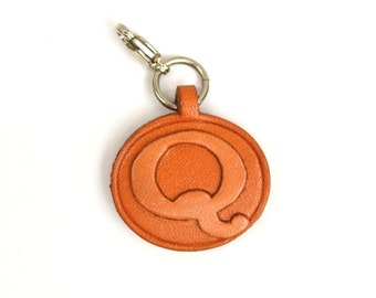 Alphabet/Initial Q Leather 3D Letter Personalize/Custom/Keychain/Key fob/Keyring *VANCA* Made in Japan #26388 Free Shipping