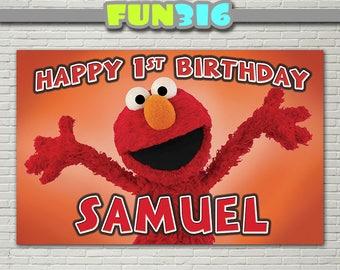 BANNER - Elmo Party Banner/Backdrop