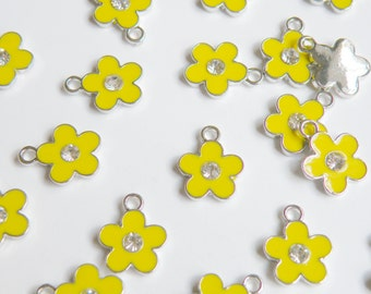 10 Cute yellow enamel flower charm with rhinestone center silver finish 15x12mm DB22014