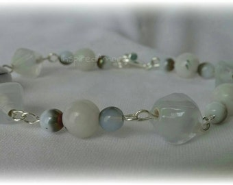 Summers Touch ~ White glass Bracelet