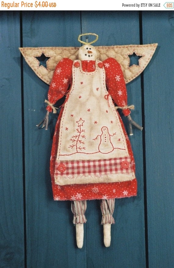 ON SALE Snow Angel - Mailed Cloth Doll Pattern  19in Country Primitive Holiday Angel