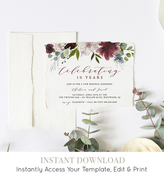 Vow Renewal Invitation, Printable Anniversary Invite, INSTANT DOWNLOAD, 100% Editable Template, Burgundy & Gold Floral Watercolor #040-112VR