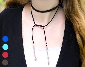 Vegan Suede Wrap Choker Necklace Tassel Necklace Thin Leather Choker Wrap Neckacle Boho Choker Black Choker Black Tie Necklace Suede Choker