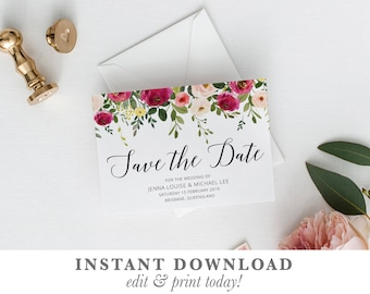 Floral Save the date, printable save the date, save the date card, save-the-date, botanical templett instant download SPRING