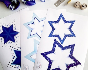 Stars Garland, printable star of David garland, Printable party decorations, White and  blue stars decoration, Instant download star garland