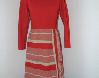 Vintage 1970s Red dress with Frayed design by R & K Knits in size Small
