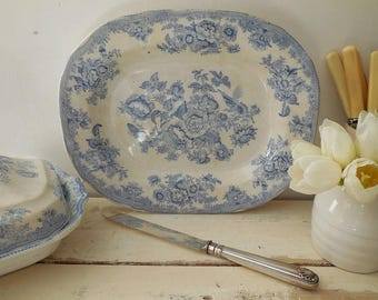 Antique blue & white Asiatic Pheasants platter or serving plate