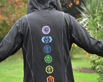 BLACK CHAKRA HOODIE - Mens Jacket, Psy Hoodie, Festival Hoodie, Hippie Jacket, Psytrance Top, Festival Clothing, Mandala Hoodie, Geometric