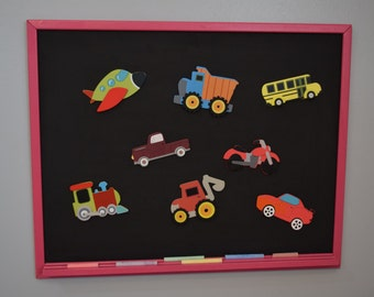 Magnetic Chalkboard WITH Planes, Trains, and Automobiles Magnets