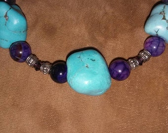 Genuine Turquoise Nugget Bracelet with Purple Agate