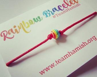 Team Hamish Rainbow Bead Bracelet