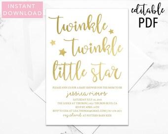 Twinkle Twinkle Little Star Baby Shower Invitation, Baby Shower Invitation, Gender Neutral, Printable Invitation, Twinkle Invitation