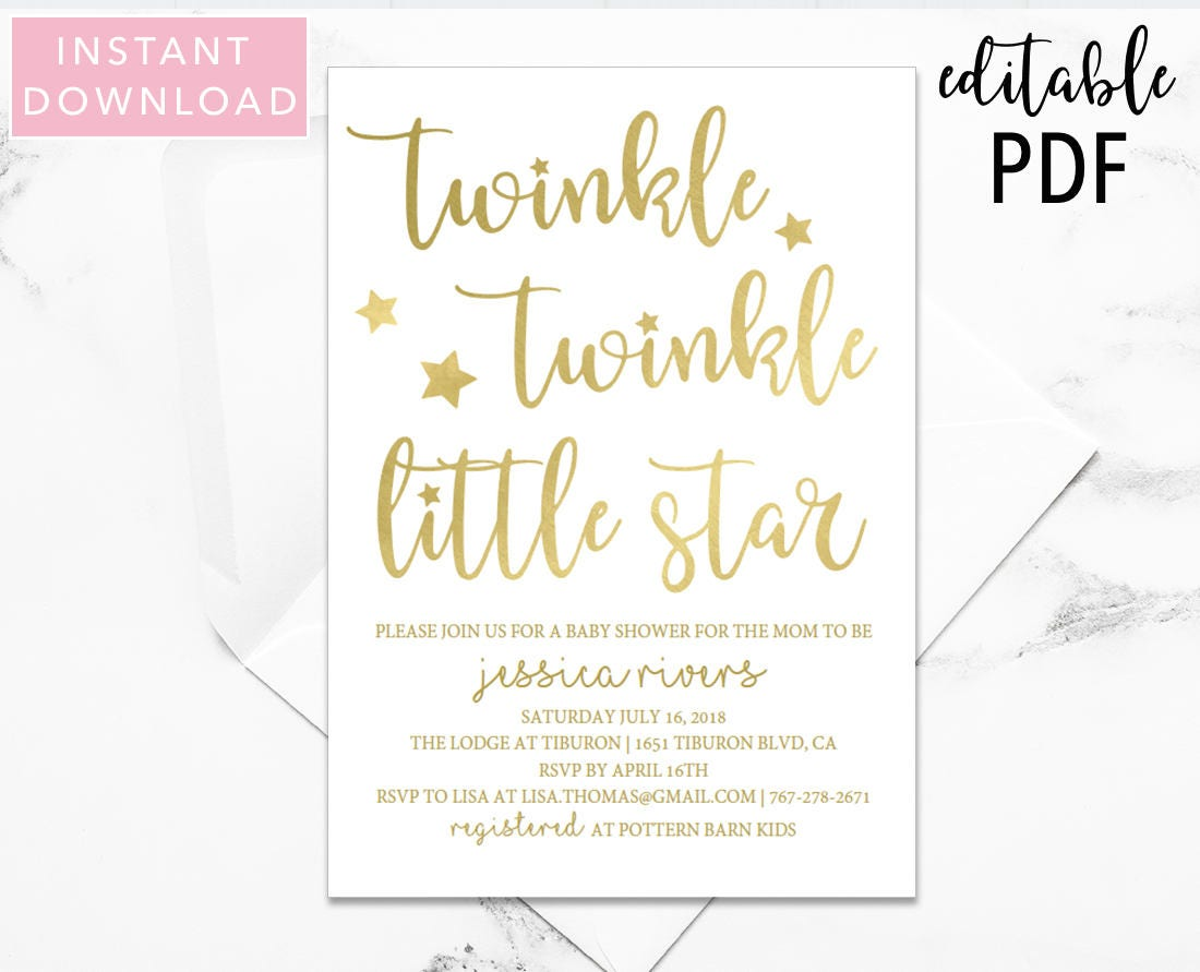 Twinkle Twinkle Little Star Baby Shower Invitation Baby