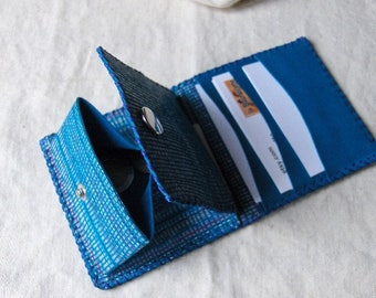 Leaves-Mint-blue leather card holder